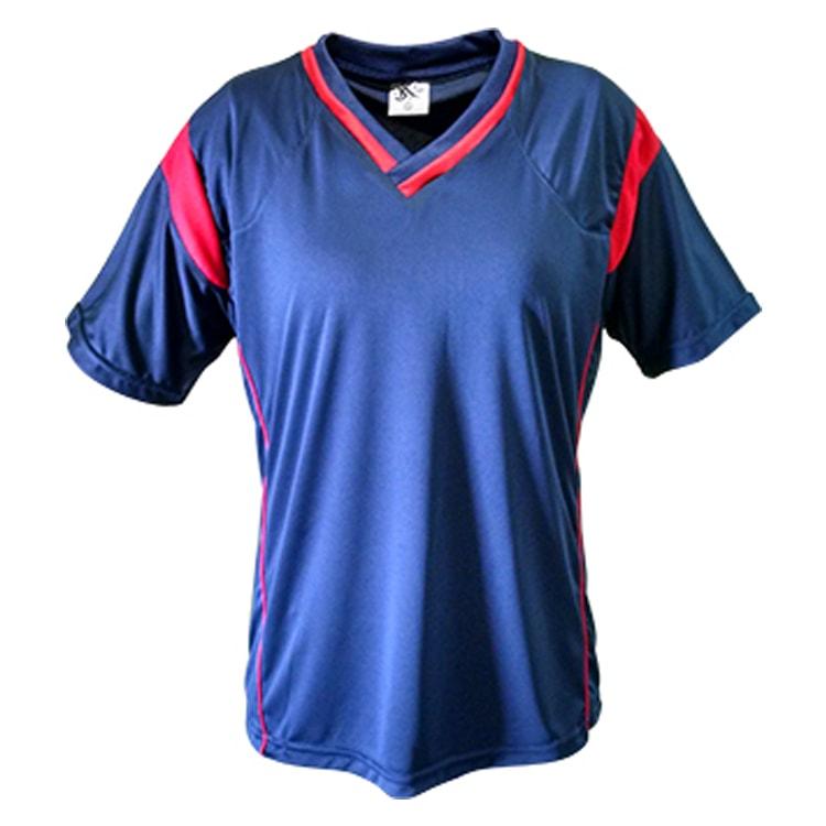 c3c1fd4159 Kit Uniforme de Futebol Feminino Ferrara Azul Marinho com Vermelho ...